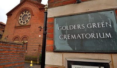 The entrance to Golders Green Crematorium is seen in London, Wednesday, Jan. 15, 2014. Police are hunting burglars who tried to steal the ashes of psychoanalyst Sigmund Freud from the crematorium. The Metropolitan Police force says a 2,300-year-old Greek urn containing the remains of Freud and his wife Martha was severely damaged in a break-in at Golders Green Crematorium on Dec. 31 or Jan. 1. (AP Photo/PA, John Stillwell) UNITED KINGDOM OUT NO SALES NO ARCHIVE
