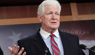 FILE - This Dec. 16, 2011 file photo shows Rep. Jim Moran, D-Va. speaks on Capitol Hill in Washington. Veteran Democratic Moran is retiring from Congress. The 68-year Moran, a former mayor of Alexandria, Va., who was first elected in 1990, has been a staunch supporter of federal civilian employees who have a heavy presence in his district.  (AP Photo/J. Scott Applewhite, File)