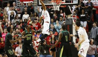 Texas Tech's Jaye Crockett (30) dunks against Baylor during an NCAA college basketball game in Lubbock, Texas, Wednesday, Jan, 15, 2014. (AP Photo/Lubbock Avalanche-Journal, Tori Eichberger) ALL LOCAL TV OUT