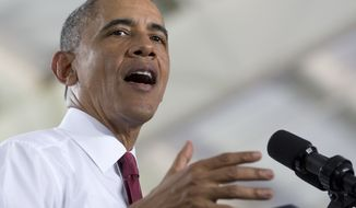 President Barack Obama speaks about the economy, jobs, and manufacturing, Wednesday, Jan. 15, 2014, at North Carolina State University in Raleigh, N.C. (AP Photo/Carolyn Kaster)
