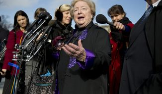 Eleanor McCullen, who sued the state of Massachusetts for enacting a buffer zone around Planned Parenthood clinics claiming it limits their ability to encounter patients arriving for care, speaks with reporters outside the Supreme Court in Washington, Wednesday, Jan. 15, 2014, after the court heard arguments on a state of Massachusetts law setting a 35-foot (10 meter) protest-free zone outside abortion clinics.  (AP Photo/ Evan Vucci)