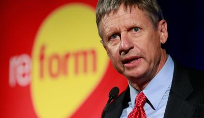 Republican presidential candidate former New Mexico Gov. Gary Johnson addresses the 2011 Drug Policy Alliance conference Thursday, Nov. 3, 2011, in Los Angeles, a four-day conference that seeks reform of the nation's drug policies. (AP Photo/Damian Dovarganes)
