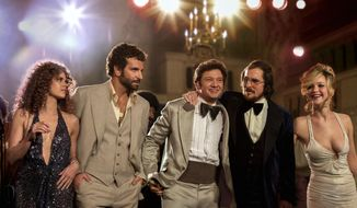 """This film image released by Sony Pictures shows, from left,  Amy Adams, Bradley Cooper, Jeremy Renner, Christian Bale and Jennifer Lawrence in a scene from """"American Hustle."""" (AP Photo/Sony - Columbia Pictures, Francois Duhamel)"""