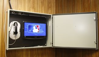 **FILE** This Aug. 28, 2008, file photo shows Major League Baseball's instant replay display shown in the umpires' room before the Chicago Cubs against Philadelphia Phillies baseball game  in Chicago. (AP Photo/Steve Green, The Chicago Cubs, Pool)