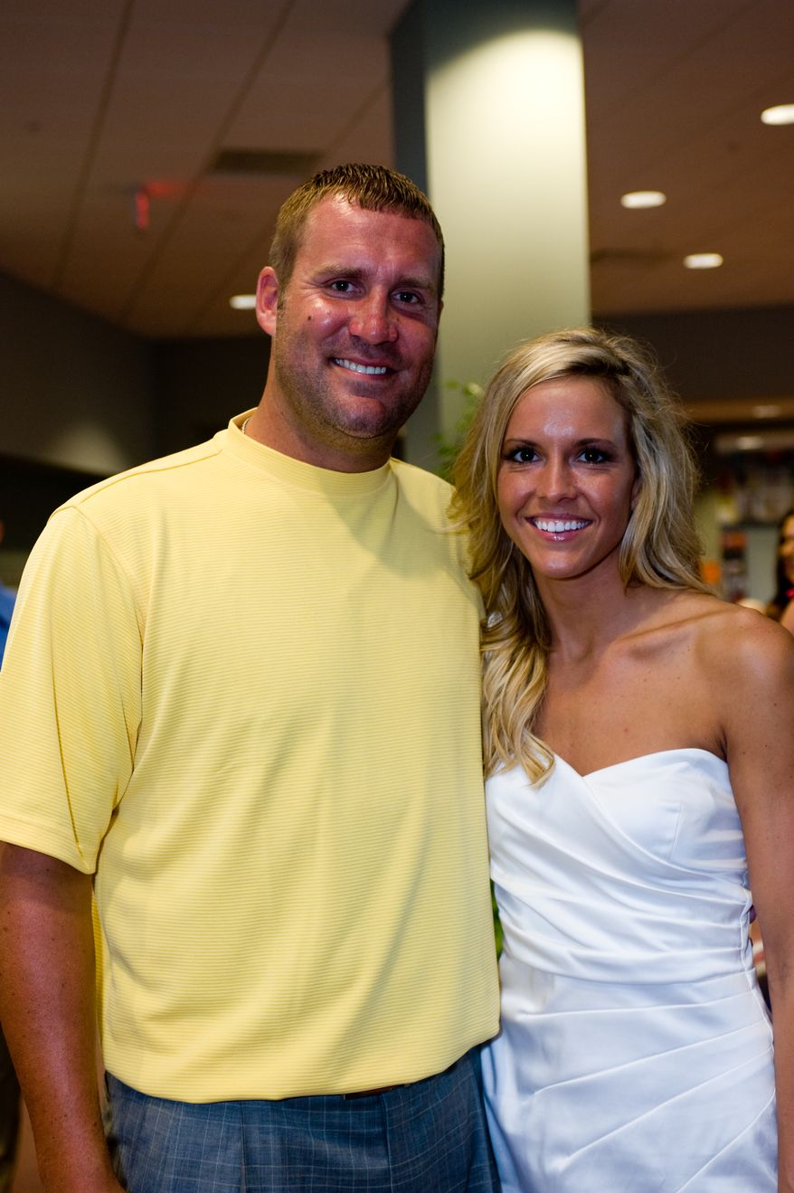 In this photo taken July 22, 2011 and released by the couple's photographer, Pittsburgh Steelers quarterback  Ben Roethlisberger, left, and his wife-to-be Ashley Harlan of New Castle, Pa., attend their rehearsal dinner Friday, July 22, 2011 in Ohio Township, Pa.. The couple will be married Saturday, July 23, 2011 at Christ Church at Grove Farm in Ohio Township, Pa..(AP Photo/Mike Goldstein-Goldstein Photography.com)