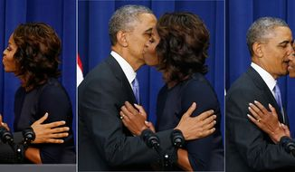 PHOTO ILLUSTRATION President Barack Obama leans over to kiss first lady Michelle Obama after she introduced him after speaking about college education at the Eisenhower Executive Office Building across from the White House in Washington, Thursday, Jan. 16, 2014. The event which is to promote opportunities for students to attend and finish college and university, was attended by college and university presidents and leaders from nonprofits, foundations, governments and businesses. (AP Photo/Charles Dharapak)