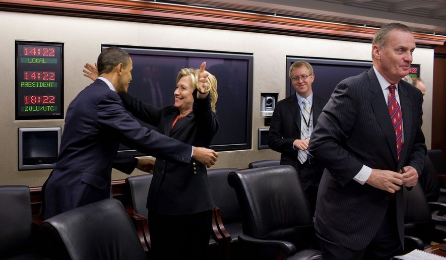 Secretary of State Hillary Rodham Clinton congratulates President Barack Obama on the House vote to pass health care reform, prior to a meeting in the Situation Room of the White House, March 22, 2010. (Official White House Photo by Pete Souza)