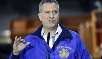 ** FILE ** In this Jan. 3, 2014, file photo, New York City Mayor Bill de Blasio speaks during a news conference in the Queens borough of New York. (AP Photo/Frank Franklin II, File)