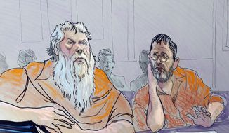 **FILE** In this artist rendering, Ray Adams, left, and Samuel Crump are shown in a federal courtroom in Gainesville, Ga., on Nov. 2, 2011. Adams and Crump are charged with conspiring to make and possess ricin. (Associated Press)