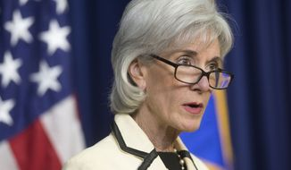 Health and Human Services Secretary Kathleen Sebelius speaks on the release of the US Centers for Disease Control and Prevention (CDC) report on the 'The Health Consequence of Smoking 50 Years of Progress', Friday, Jan. 17, 2014, in the South Court Auditorium in the Eisenhower Executive Office Building on the White House complex in Washington. (AP Photo/Pablo Martinez Monsivais)