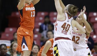 Syracuse guard Brianna Butler, left, attempts to pass to a teammate as she is pressured by Maryland guard Katie Rutan (40) and center Brionna Jones in the second half of an NCAA college basketball game in College Park, Md., Thursday, Jan. 16, 2014. Maryland won 77-62, despite a team-high 14 points from Butler. (AP Photo/Patrick Semansky)