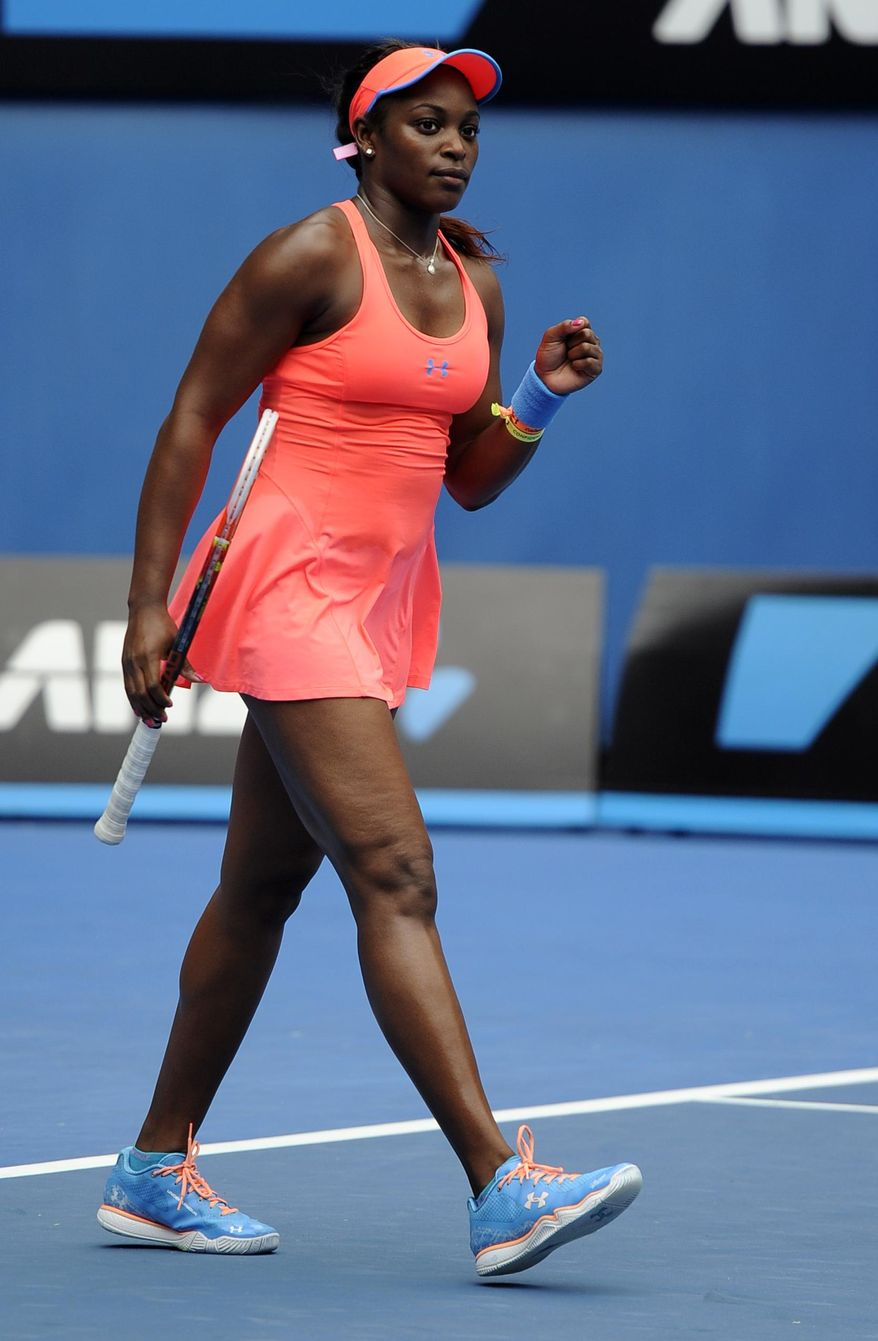 Sloane Stephens of the U.S. celebrates after her win over Elina Svitolina of Ukraine during their third round match at the Australian Open tennis championship in Melbourne, Australia, Saturday, Jan. 18, 2014.(AP Photo/Andrew Brownbill)