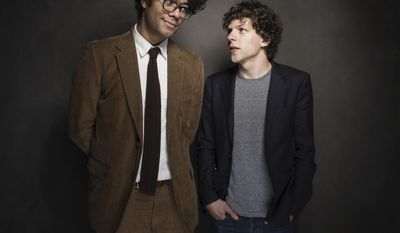 From left, Richard Ayoade and Jesse Eisenberg pose for a portrait at The Collective and Gibson Lounge Powered by CEG, during the Sundance Film Festival, on Friday, Jan. 17, 2014 in Park City, Utah. (Photo by Victoria Will/Invision/AP)
