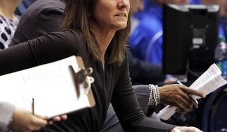 Virginia head coach Joanne Boyle watches the first half of play during an NCAA women's college basketball game against Duke, Thursday, Jan. 16, 2014, in Durham, N.C. (AP Photo/Ted Richardson)