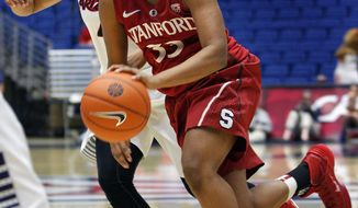 Stanford's Amber Orrange (33) dribbles past the defense of Arizona's Carissa Crutchfield in the first half of an NCAA college basketball game on Friday, Jan. 17, 2014, in Tucson, Ariz. (AP Photo/John Miller)