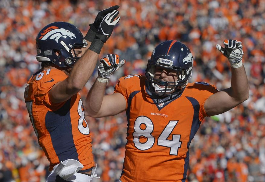 Denver Broncos tight end Jacob Tamme (84) celebrates his touchdown with teammate Denver Broncos wide receiver Eric Decker (87) during the first half of the AFC Championship NFL playoff football game in Denver, Sunday, Jan. 19, 2014. (AP Photo/Jack Dempsey)