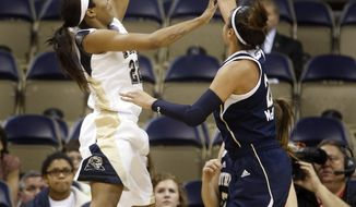 Pittsburgh's Chelsea Welch, left, shoots over Notre Dame's Kayla McBride during the first half of an NCAA college basketball game Thursday, Jan. 16, 2014, in Pittsburgh. (AP Photo/Keith Srakocic)