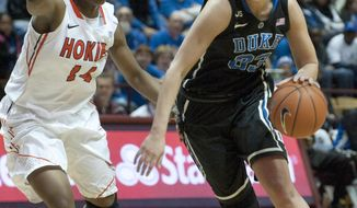 Duke's Haley Peters (33) drives against  Virginia Tech's Uju Ugoka (14) during the first half of an NCAA college basketball game on Sunday, Jan.19, 2014, in Blacksburg, Va. Duke won 74-70. (AP Photo/Don Petersen)