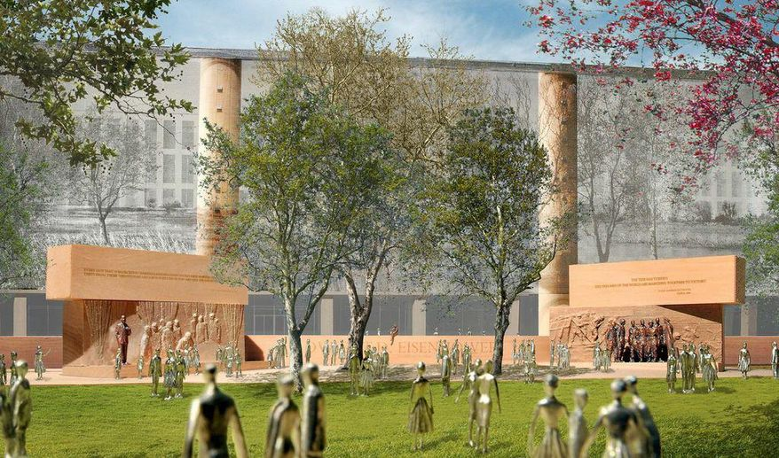 This handout image courtesy of Gehry Partners, LLP, 2013 shows the planned Dwight D. Eisenhower Memorial in Washington. A budget deal approved by Congress restores funding for some national arts and cultural programs, but others will still see reductions. In a funding bill approved this week, lawmakers decided against providing construction money for the planned Dwight D. Eisenhower memorial in Washington. The deal provides $1 million for salaries and expenses of the federal memorial commission, dismissing its $51 million budget request.  (AP Photo/Gehry Partners, LLP, 2013)