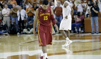 Iowa State's Naz Long (15) walks off the court after the team's loss to Texas in an NCAA college basketball game, Saturday, Jan. 18, 2014, in Austin, Texas. Texas won 86-76. (AP Photo/Eric Gay)