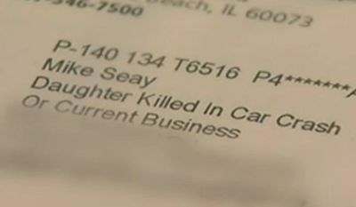 "Mike Seay claims he received a letter from OfficeMax on Thursday addressed to ""Mike Seay, Daughter Killed in Car Crash, or Current Business.""(NBC 5 Chicago)"