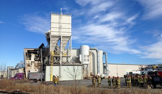 Firefighters stand outside the International Nutrition plant in Omaha, Neb., Monday, where a fire and explosion took place Jan. 20, 2014. At least nine people have been hospitalized and others could be trapped at the animal feed processing plant. (AP Photo/Nati Harnik)