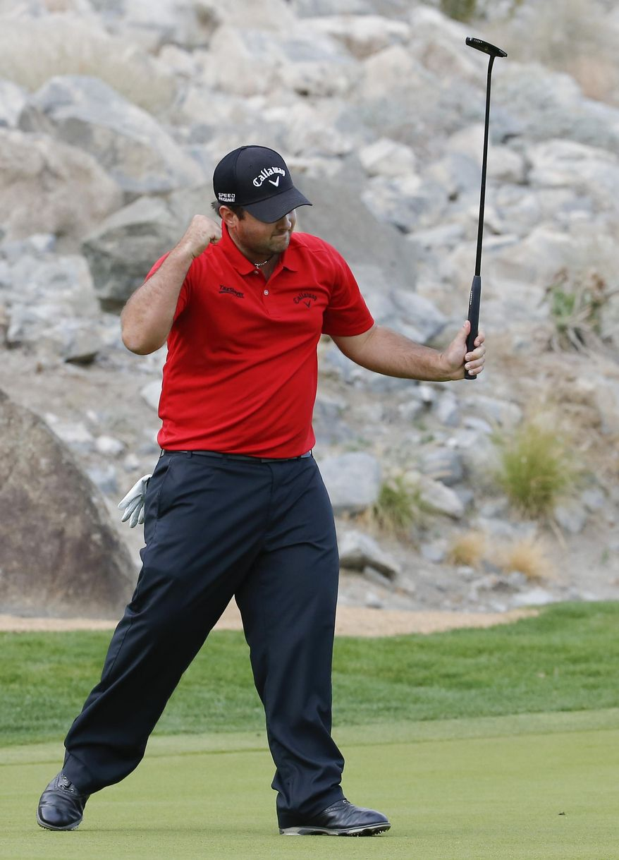 Patrick Reed celebrates a birdie on the 15th hole during the final round of the Humana Challenge golf tournament on the Palmer Private course at PGA West,Sunday, Jan. 19, 2014 in La Quinta, Calif. (AP Photo/Matt York)