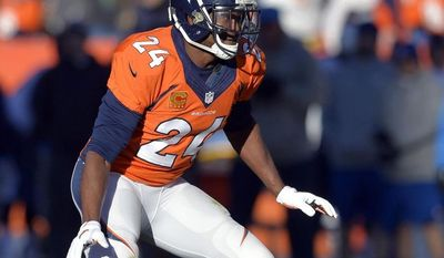 FILE - In this Jan. 12, 2014, file photo, Denver Broncos cornerback Champ Bailey (24) breaks off the line-of-scrimmage during the first quarter of an NFL AFC divisional playoff football game against the San Diego Chargers in Denver.  The veteran cornerback, one of the best to play the game, is still seeking the missing piece on the resume, a trip to the Super Bowl. He'll get it if the Broncos beat the Patriots on Sunday in the AFC championship game. (AP Photo/Jack Dempsey, File)
