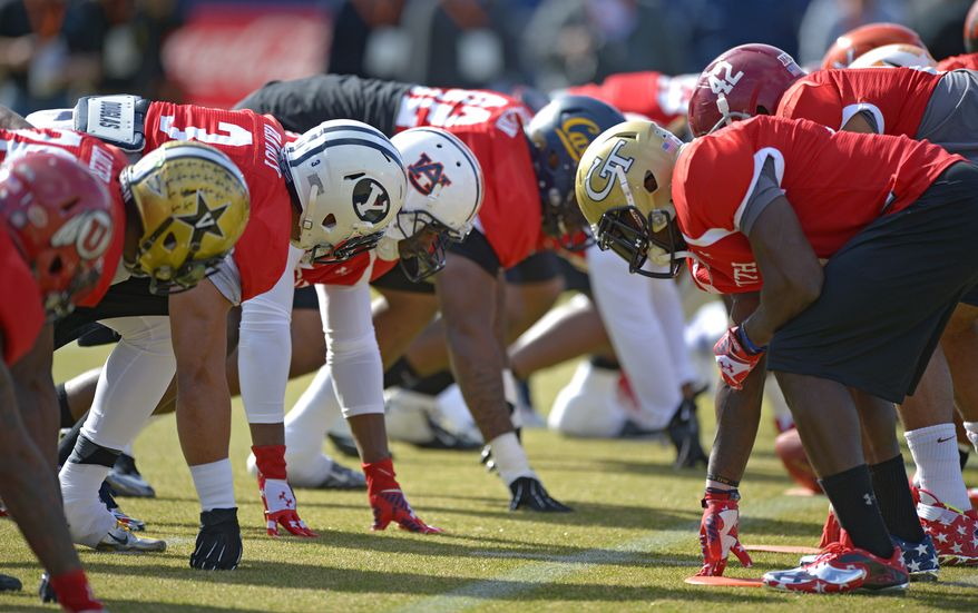South Squad special teams players line up against each other during Senior Bowl practice at Fairhope Municipal Stadium, Monday, Jan. 20, 2014 in Fairhope, Ala.  (AP Photo/G.M. Andrews)