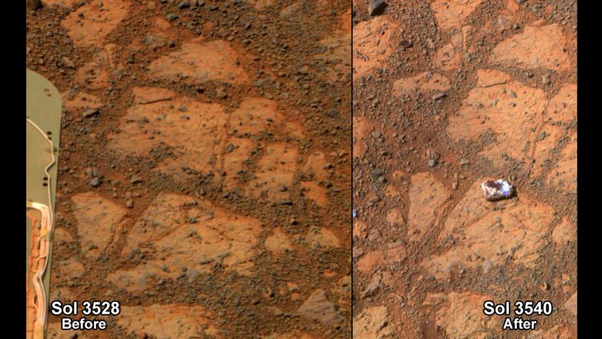 This composite image provided by NASA shows before and-after images taken by the Opportunity rover. At left is an image of a patch of ground taken on Dec. 26, 2013. At right is in image taken on Jan. 8, 2014 showing a rock shaped like a jelly doughnut that had not been there before. The space agency said the rover Opportunity likely kicked up the rock into its field of view. Opportunity landed on Mars in 2004 and continues to explore. (AP Photo/NASA)