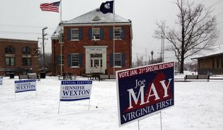 Signs for candidates are seen in the snow outside of Town Hall in Herndon, Va., Tuesday, Jan. 21, 2014. The special election will likely determine which party controls the state Senate. Election officials said they were pleasantly surprised that, despite the nasty weather, turnout could reach 20 percent in some precincts. (AP Photo/Matt Barakat)
