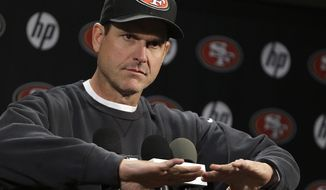 San Francisco 49ers coach Jim Harbaugh gestures during an NFL football news conference Tuesday, Jan. 21, 2014, in Santa Clara, Calif. (AP Photo/Ben Margot)