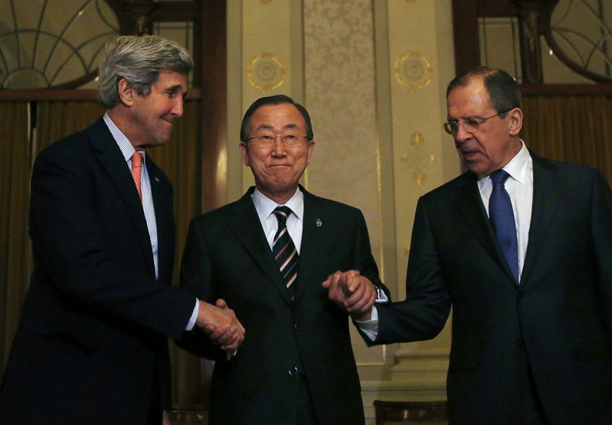 United States Secretary of State John Kerry, left, U.N. Secretary-General Ban Ki-moon and Russia's Foreign Minister Sergey Lavrov, right, join hands after their tri-lateral meeting on ending the crisis in Syria in Montreux, Switzerland, Tuesday, Jan. 21, 2014.  Syria's main political opposition group in exile agreed on Saturday to attend internationally sponsored peace talks, and said for the first time three rebel fighting forces also wanted to take part. (AP Photo/Gary Cameron, Pool)