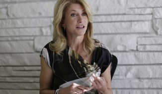 Democratic candidate for Texas governor Wendy Davis takes part in a interview, Tuesday,  Jan. 21, 2014, in Austin, Texas. Davis promised to veto a state income tax to pay for public schools and to expand where people may carry their handguns in the interview. (AP Photo/Eric Gay)