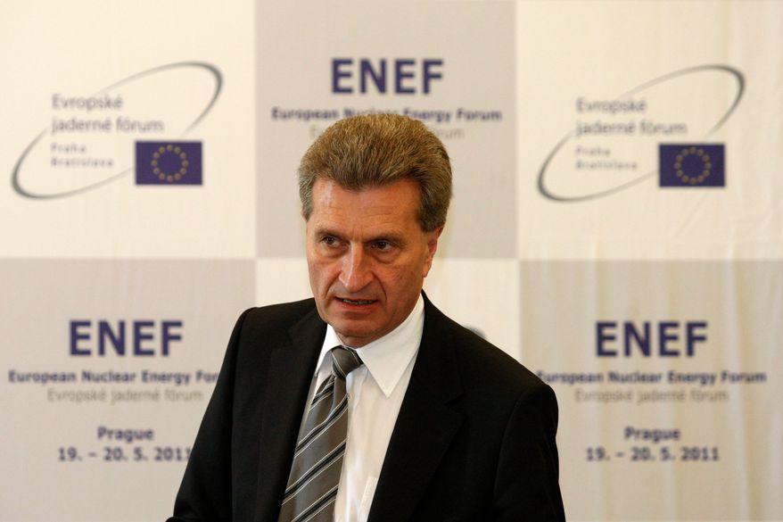 """""""My aim is to make sure that energy remains affordable for households and companies,"""" says Gunther Oettinger, energy commissioner for the European Commission. Leaders in the European Union are revamping their approach to climate change because higher energy costs have not sit well with consumers in a struggling economy. (Associated Press)"""