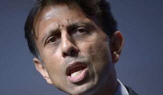 FILE - In this Aug. 30, 2013 file photo, Louisiana Gov. Bobby Jindal speaks in Orlando, Fla. This is a year of auditioning, positioning, networking and just plain hard work for people who are considering running for president in 2016. You could see them stirring in 2013 as they plugged holes in resumes, took preliminary steps to build potential campaign organizations and made carefully calibrated moves to get better known by Americans generally and key constituencies in particular. Most _ but not all _ are ticking off items on what could be called the presidential prep checklist. And they've got baggage to deal with. (AP Photo/Phelan M. Ebenhack, File)