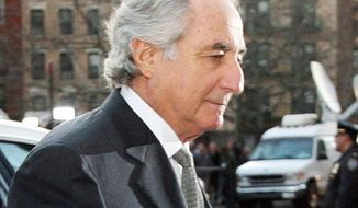 Bernard Madoff is serving a 150-year prison term for his Ponzi scheme that stole an estimated $36 billion from investors. (Associated Press) **FILE**