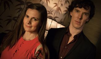 "This photo provided by PBS shows Louise Brealey, left, as Molly Hooper and Benedict Cumberbatch as Sherlock Holmes, in a scene from Season 3, ""The Empty Hearse"" episode of Masterpiece's ""Sherlock,"" which aired on Jan. 19, 2014, on PBS. Steven Moffat, co-creator of ""Sherlock,"" said the show is a hit in China and many other countries. (AP Photo/PBS/Masterpiece, Robert Viglasky/Hartswood Films)"