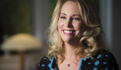 """In this undated photo provided by PBS, former United States CIA Operations Officer, Valerie Plame, who is also known by her married name, Valerie Wilson, is interviewed on the set of """"Makers: Women Who Make America,"""" filmed in Venice, Calif. Plame left the CIA after her covert identity was compromised by information leaked to a newspaper columnist in 2003. She is among those featured in the PBS documentary series titled """"Makers: Women Who Make America,"""" airing later this year. (AP Photo/PBS, Nancy Pastor)"""