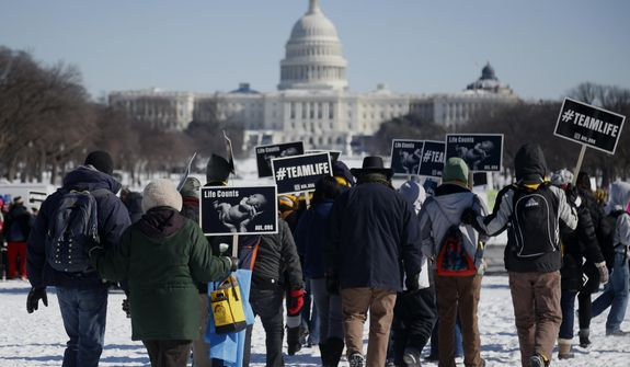 Anti-abortion demonstrators gather on the snow covered National Mall in Washington, Wednesday, Jan. 22, 2014, for the annual March for Life. Thousands of anti-abortion demonstrators are gathering in Washington for an annual march to protest the Supreme Court's landmark 1973 decision that declared a constitutional right to abortion. (AP Photo/Charles Dharapak)