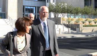 File-This April 3, 2013 file photo shows one-time political powerbroker Harvey Whittemore leaving the Lloyd George Federal Courthouse in Las Vegas. A Nevada State Bar panel has 30 days to recommend whether lawyer, developer and former political powerbroker, Whittemore should keep his law license or be suspended or disbarred. Disciplinary hearings ended Wednesday Jan. 22, 2014 in Reno, and it'll be up to the Nevada Supreme Court to take the State Bar recommendation and make a final decision on Whittemore's future. (AP Photo//Las Vegas Review-Journal, Jerry Henkel,File)