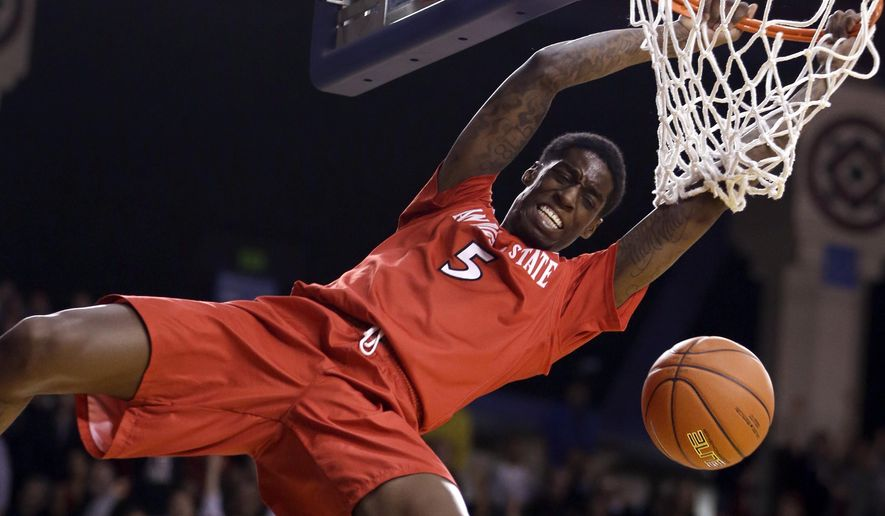 San Diego State's Dwayne Polee II scores against San Jose State's in the second half of an NCAA college basketball game Wednesday, Jan. 22, 2014, in San Jose, Calif. (AP Photo/Ben Margot)