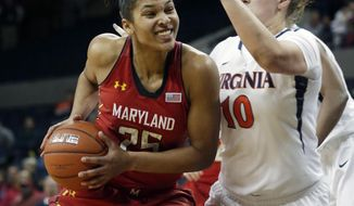 Maryland forward Alyssa Thomas (25) drives to the basket in front of Virginia guard Kelsey Wolfe (10) during the first half of an NCAA  woman's college basketball game in Charlottesville, Va., Thursday, Jan. 23, 2014.  (AP Photo/Steve Helber)