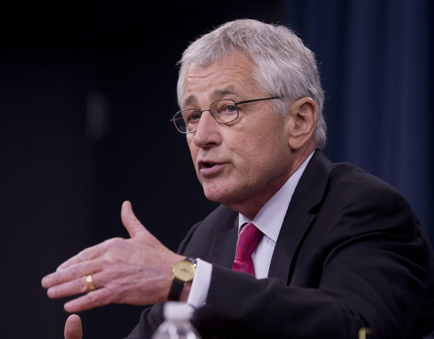 ** FILE ** In this Dec. 4, 2013, file photo, Defense Secretary Chuck Hagel speaks during a news conference at the Pentagon. A defense official says Hagel is going to summon the military's most senior leaders to the Pentagon to discuss serious missteps, leadership lapses and personnel problems in the U.S. nuclear force.  (AP Photo/Manuel Balce Ceneta, File)