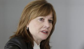 General Motors CEO Mary Barra addresses the media during a roundtable meeting with journalists in Detroit, Thursday, Jan. 23, 2014. (AP Photo/Carlos Osorio)