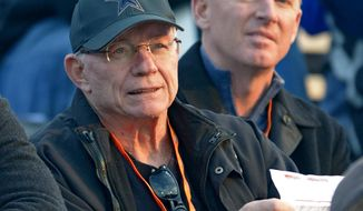 Dallas Cowboys owner Jerry Jones looks over the action with Cowboys coach Jason Garrett, right, during Senior Bowl North Squad practice at Ladd-Peebles Stadium, Monday, Jan. 20, 2014 in Mobile, Ala.  (AP Photo/G.M. Andrews)