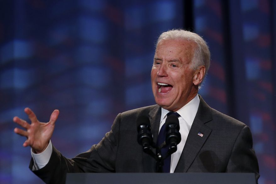 Vice President Joe Biden speaks about President Barack Obama's signature health care law at the Families USA's 19th Annual Health Action Conference in Washington, Thursday, Jan. 23, 2014. Biden thanked supporters of the health care law and spoke about initial problems with the plan's roll out and also Republican efforts to repeal the law. (AP Photo/Charles Dharapak)