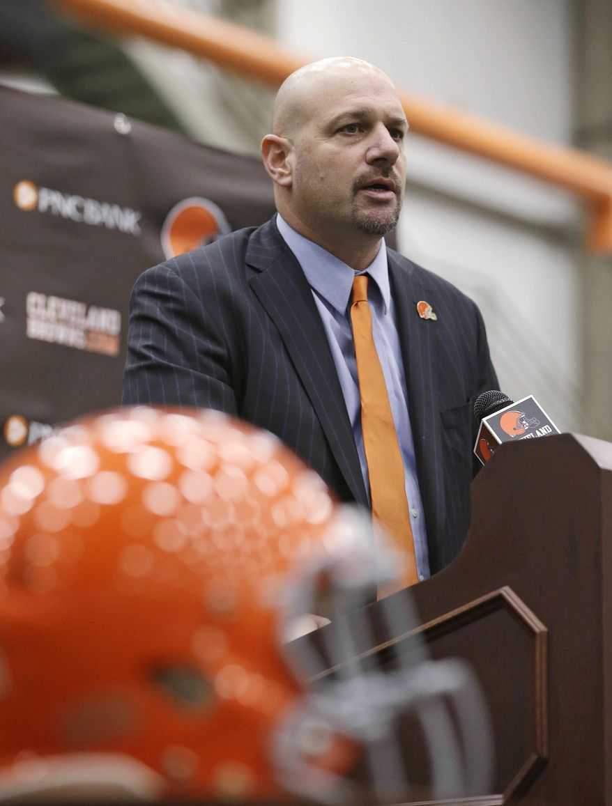 Cleveland Browns coach Mike Pettine speaks to the media after being introduced Thursday, Jan. 23, 2014, in Berea, Ohio. Pettine emerged as the favorite to become Cleveland's fourth coach in six years as the Browns eliminated candidates and Denver offensive coordinator Adam Gase, considered the front-runner when the search started, told the team to move on without him. (AP Photo/Tony Dejak)