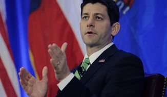 House Budget Committee Chairman Rep. Paul Ryan takes part in a San Antonio Hispanic Chamber of Commerce event, Thursday,  Jan. 23, 2014, in San Antonio.  Ryan said House Republicans will tackle immigration reform in pieces rather than the Senate's comprehensive approach. (AP Photo/Eric Gay)