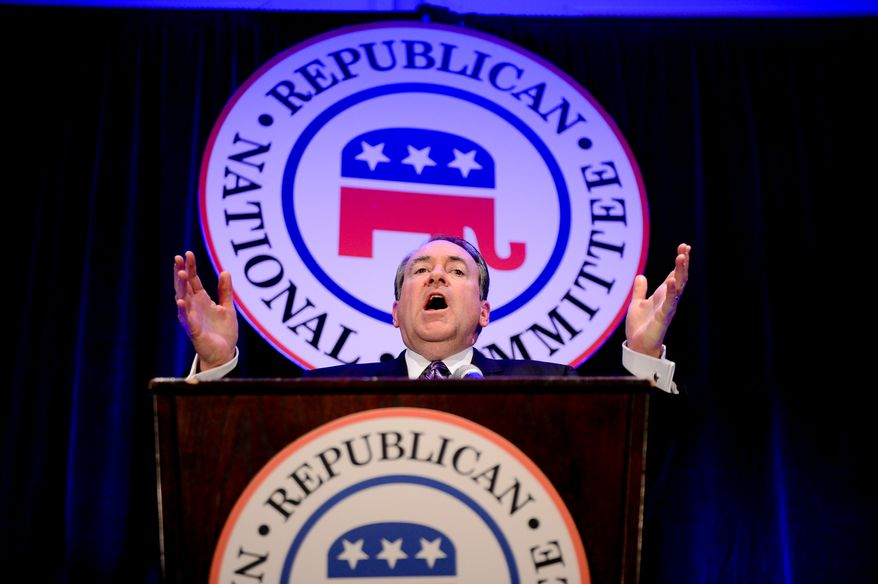 Mike Huckabee speaks during the Republican National Committee's annual winter meeting, Washington, D.C., Thursday, January 23, 2014. (Andrew Harnik/The Washington Times)